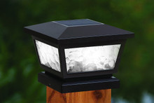 4x4 Solar Post Cap (Nominal) Black with Pebbled Glass