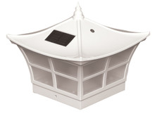 Five by five White PVC Solar Post Cap. Comes with adapter to fit a Four by Four post.