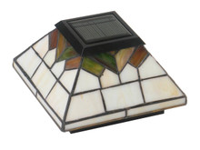 Four by Four Solar Post Cap - Stained Glass. Comes with adapter to fit three and one half inch, four inch, and five inch post.
