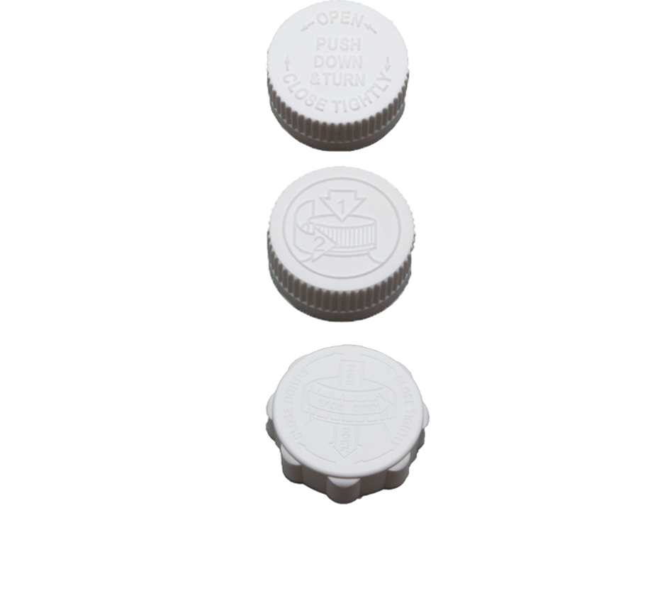 Parkway Plastics offers Child Resistant Caps in sizes ranging from 20mm to 89mm. (Shown: 33mm). Click to shop Parkway Plastics' Child Resistant Caps.