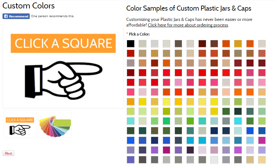 Hand illustration with finger pointing to custom color chart. Text reads 'Click A Square' referring to a color chart with over a hundred custom color squares