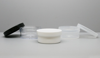 Regular Wall: 70 mm 2oz Jars available in Clear Styrene, Clarified Polypropylene (16, 20, 26 oz, 100mm jars available in Natural PP only), White Polypropylene and Black Polypropylene