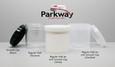 Left to Right:  Smooth Black Cap; Regular Wall Styrene Jar; Regular Wall White Polypro Jar with Smooth White Cap; Regular Wall Clarified Jar with Smooth Clarified Cap