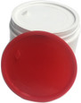 Photo of jar with white disc liner applied; and a red disc liner. Disc liners available in sizes ranging from 53mm to 120mm.