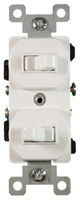 Stack Switch Double Toggle 15A White