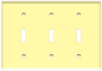 Toggle Switch Wall Plate 3-Gang Ivory