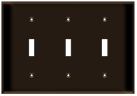 Toggle Switch Wall Plate 3-Gang Brown