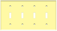 Toggle Switch Wall Plate 4-Gang Ivory