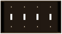 Toggle Switch Wall Plate 4-Gang Brown