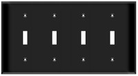 Toggle Switch Wall Plate 4-Gang Black