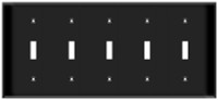 Toggle Switch Wall Plate 5-Gang Black