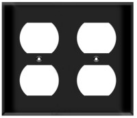 Duplex Receptacle Wall Plate 2-Gang Black