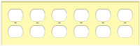 Duplex Receptacle Wall Plate 6-Gang Ivory