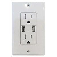 Decorative 15Amp Tamper Resistant Duplex USB Charger White