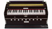 MAHARAJA MUSICALS Harmonium No. 43 - A440, 42 Keys, 9 Stop, Kail Wood, 3.25 Octaves, Coupler, Multi-fold Bellow, Dark Mahogany