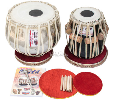 New Vhatkar Tabla Set, 2½ Kg Chromed Brass Bayan, Sheesham Dayan