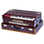 Monoj Sardar MKS Harmonium No. 347, Teak Wood, Folding, 4 Reeds, A440, 42 Keys, Walnut Color, Concert Quality