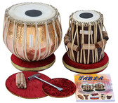 MAHARAJA MUSICALS Concert Special Lacquer Polish Tabla Set, 5.5 Kg Copper Bayan, Finest Dayan - No. 200