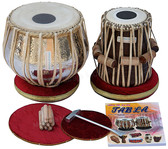 MAHARAJA MUSICALS Concert Extra Heavy Tabla Set, 5.5 Kg Copper Bayan, Finest Dayan - No.114