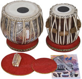 MAHARAJA MUSICALS Concert Double Color Tabla Set, 4.5 Kg Copper Bayan, Finest Dayan - No.70