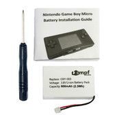 600mAh OXY-003 Battery Kit for Nintendo Game Boy Micro OXY-001 GPNT-02