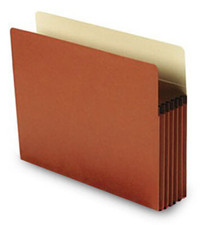 Letter size paper gusset file pocket with Tyvek strip