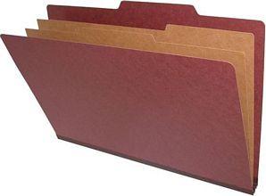 Legal Size red pressboard 6 section classification folder.