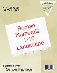 Roman Numerals I - X Landscape