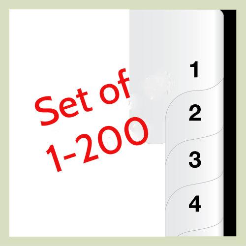 Set of 1 - 200 Number Tabs