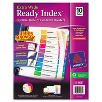 Avery® Extra-Wide Ready Index Dividers, 10-Tab, 9 1/2 x 11, Assorted, 10/Set