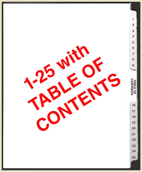 1-25 Tabs with table of contents