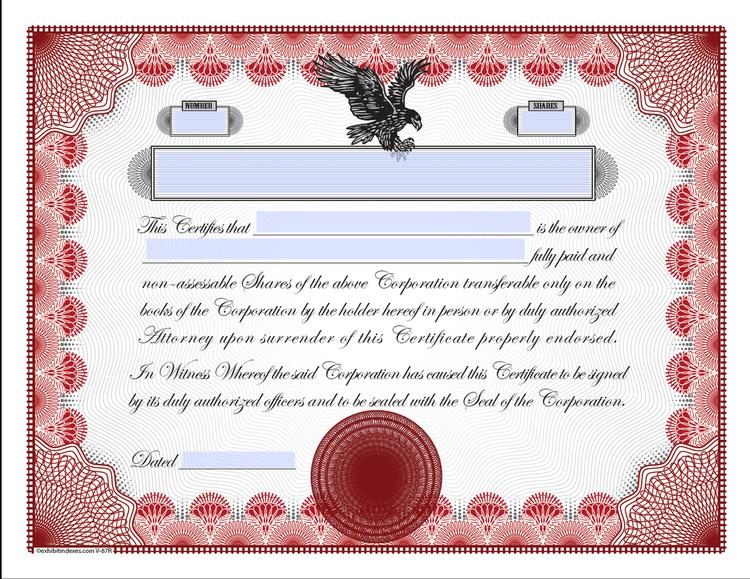 Stock Certificate Template ExhibitIndexescom - Fillable stock certificate template