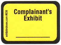 Complainant's Exhibit Labels Bright Yellow