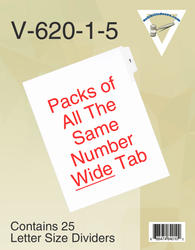 Side Individual Wide Tab Numbers (pack of 25 of all the same number)