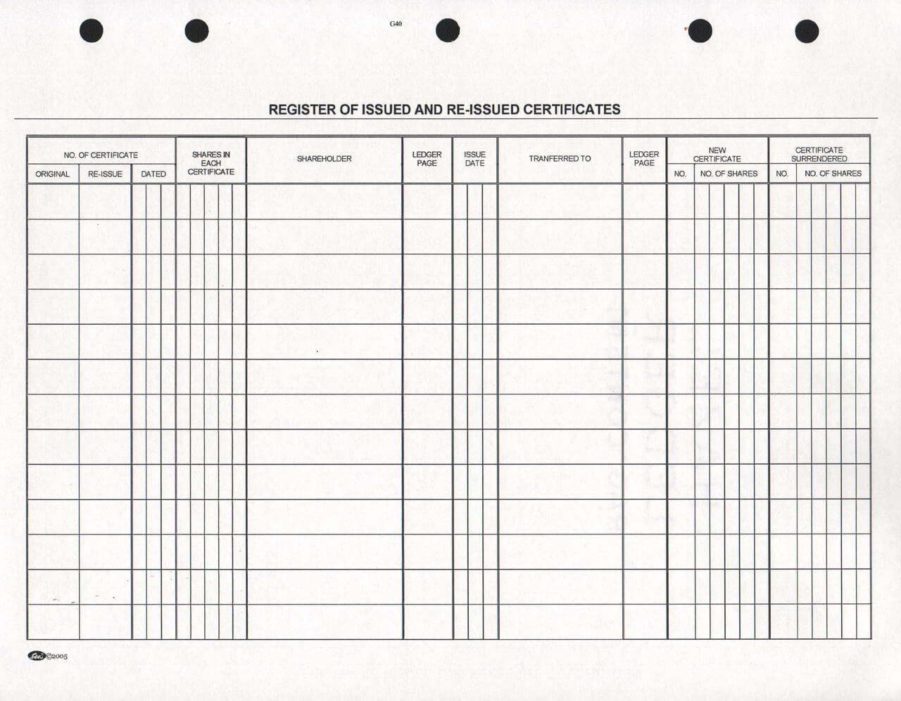 g40 stock register sheets  free shipping