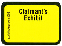 Claimant's Exhibit Labels Bright Yellow #309 With FREE Shipping