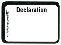 Declaration Exhibit Labels  #497 With FREE Shipping
