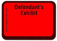 Defendant's Exhibit Labels Red #495 With FREE Shipping