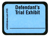 Defendant's Trial Exhibit Labels Blue #105 With FREE Shipping