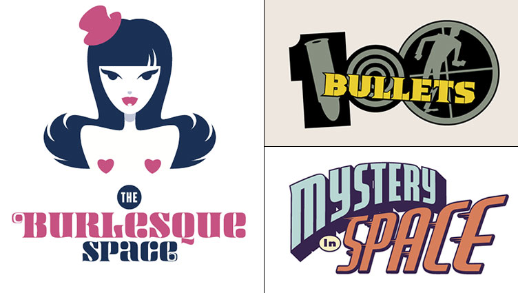 Rian Hughes logos for The Burlesque Space, 100 Bullets and Mystery in Space