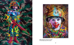 Death and Eternal Forever by Ron English. Paintings Camo Peace Clown and Camo Tramp Boy.