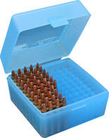 MTM RS-100 Series Small Rifle Ammo Box - 100 Round - Clear Blue - RS10024