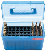 MTM Deluxe H-50 Series X-Large Rifle Ammo Box - 50 Round - Clear Blue - H50XL24