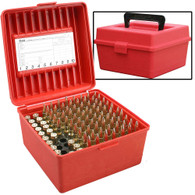 MTM Case-Gard Deluxe R-100 Series Small Rifle Ammo Box - 100 Round - Red - R10030