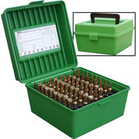 MTM Case-Gard Deluxe R-100 Series Small Rifle Ammo Box - 100 Round - Green - R10010