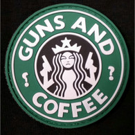 DDT INC RUBBER MORALE PATCH - GUNS & COFFEE, GREEN/WHITE - 50129