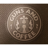 DDT INC RUBBER MORALE PATCH - GUNS N COFFEE, BLACK/GREY - 50156