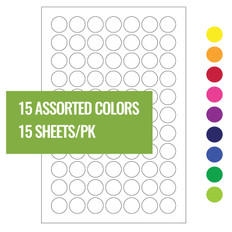 "Cryogenic Color Dots - 0.44"" circles #LT-11A (15 assorted colors)"