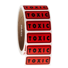 "TOXIC warning labels 1.75"" x 0.75""  #WL-001"