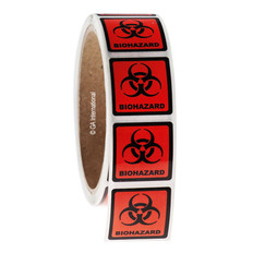 "BIOHAZARD warning labels 1.125"" x 1.125"" #WL-003"